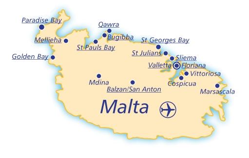 ou loger à Malte carte